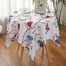 Jhxena Garten Stil Tischdecke Wasserdicht Und Öldicht Rechteckige Oder Runde Cafe Table Cover Tuch, Lila Eule, 130 * 130 Cm