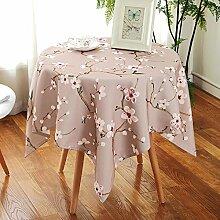 Jhxena Garten Stil Tischdecke Wasserdicht Und Öldicht Rechteckige Oder Runde Cafe Table Cover Tuch, Lila Pflaume, 130 * 180 Cm