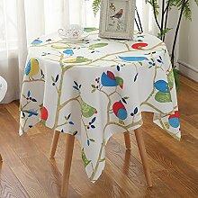Jhxena Garten Stil Tischdecke Wasserdicht Und Öldicht Rechteckige Oder Runde Cafe Table Cover Tuch, Blaue Eule, 150*150 Cm.