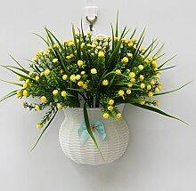 jhxena Garten Stil Wandbehang Kunststoff Blumenkörbe gemischte Blumen Rote Orchidee Gras