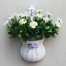 jhxena Garten Stil Wandbehang Kunststoff Blumenkörbe gemischte Blumen weißen Gänseblümchen