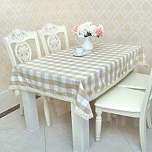 Jhxena Grid Tischdecken Garten Stil Rechteckige Baumwolle Esstisch Tuch, Braun 110*160 Cm