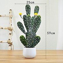 jhxena Home Dekoration Künstliche Blumen Kaktus grüne Pflanze getopft gelb