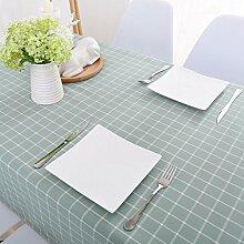Jhxena Im Amerikanischen Stil, Wasserfeste Tischdecke Aus Baumwolle Und Leinen Rechteckigen Raster Table Cover Tuch, Hellgrün 140*160 Cm