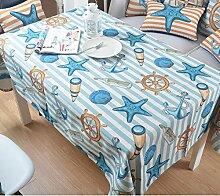 Jhxena Im Europäischen Stil, Baumwolle Und Leinen Tischdecke Sommer Cafe Und Tee Table Cover Tuch, Seesterne, 140 × 200 Cm
