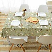 Jhxena Im Europäischen Stil, Baumwolle Und Leinen Tischdecke Wasserdicht Und Öldicht Rechteckige Blume Tischdecke, Grün 110 X 170 Cm