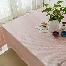 Jhxena Koreanische Art Tischdecke Aus Baumwolle Und Leinen Dicke Cafe Und Tee Table Cover Tuch, Pink Raster 90*140 Cm