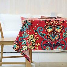 Jhxena Koreanische Art Tischdecke Verdicken Rechteckige Cafe Table Cover Tuch, Rot, 90 * 90 Cm.