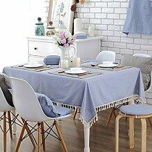 Jhxena Modern Gestreift Tischdecke Kaffee Und Tee Tabelle Quaste Table Cover Tuch, Blau 140 * 220 Cm