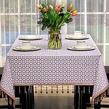 Jhxena Modern Hotel Rechteckige Tischdecke Jacquard Fabric Table Cover Tuch Lila Spitzen 90 * 130 Cm