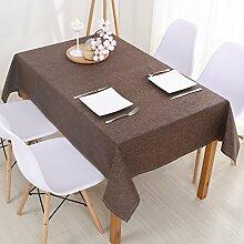 Jhxena Moderne Farbe Baumwolle Und Leinen Home Wasserfeste Tischdecke Tuch, Braun 130 * 130 Cm