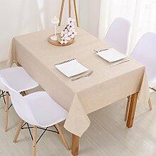 Jhxena Moderne Farbe Baumwolle Und Leinen Home Wasserfeste Tischdecke Tuch, Hellgelb 120*180 Cm.