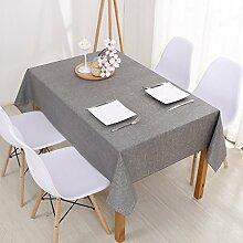 Jhxena Moderne Farbe Baumwolle Und Leinen Home Wasserfeste Tischdecke Tuch, Hellgrau 130 * 180 Cm.
