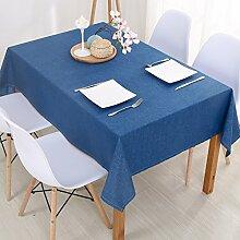 Jhxena Moderne Farbe Baumwolle Und Leinen Home Wasserfeste Tischdecke Tuch, Blau 130 * 220 Cm