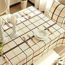 Jhxena Moderne Raster Form Tischdecken Art Hotel Und Home Tischdecke, Weiß 145 * 220 Cm