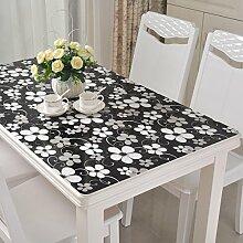 jhxena Moderne Schwarze PVC-Tischdecke Wasserfeste