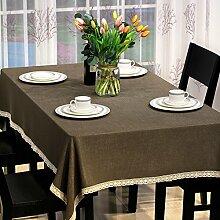 Jhxena Moderne Tischdecke Farbe Baumwolle Und Leinen Rechteckigen Tisch Decken Tuch, Braun 130*200Cm