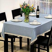 Jhxena Moderne Tischdecke Farbe Baumwolle Und Leinen Rechteckigen Tisch Decken Tuch, Blau 130 X 240 Cm