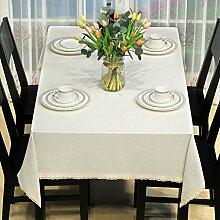 Jhxena Moderne Tischdecke Farbe Baumwolle Und Leinen Rechteckigen Tisch Decken, Weißen Tuch 130 * 130 Cm