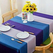 Jhxena Modernen Europäischen Stil Tischdecke Aus Baumwolle Und Leinen Streifen Cafe Table Cover Tuch, Lila Und Blau, 100 * 140 Cm