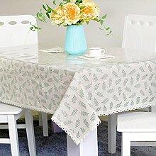 Jhxena Pvc-Tischdecke Aus Baumwolle Und Leinen Tischdecke Tuch Und Transparente Soft Glas Kit, Hellgrün 80 * 135 Cm