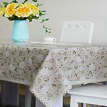 Jhxena Pvc-Tischdecke Aus Baumwolle Und Leinen Tischdecke Tuch Und Transparente Soft Glas Kit, Light Brown 70*70 Cm