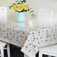 jhxena Pvc-Tischdecke Aus Baumwolle Und Leinen Tischdecke Tuch Und Transparente Soft Glas Kit, Hellgrau 70 * 130 Cm
