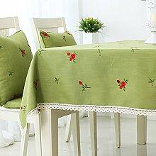 Jhxena Retro Style Bettwäsche Tischdecke Grün Dick Gesticktem Rechteckigen Tisch Decken Tuch, Rot 140*200 Cm.