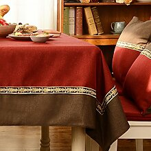 Jhxena Retro Style Verdicken Tischdecke Stitching Double Edge Cafe Table Cover Tuch, Tief Rot Und Braun, 140 * 180 Cm.