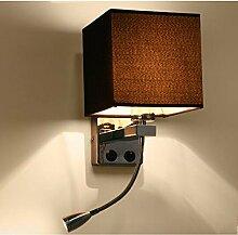 JIA HONG Modernes Gästezimmer Schlafzimmer Nachttisch Verstellbare Lampe,Brown1-Onesize