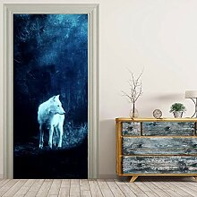 JIAER White Fox Wall Murals Wandaufkleber Tür