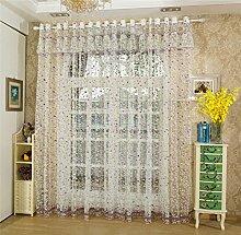 JIAJU Tulle-Vorhang-Fenster-Schirm-bedrucktes