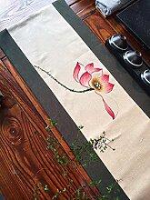 JIAJU Vintage handbemalt Leinen Tischläufer,