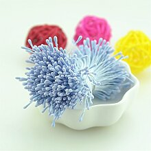 jiale3536Künstliche Blumen, Fake, Seide Blume, Simulation Blumensträuße 400pcs 1,5mm Köpfe Blume Staubblatt Pistil Hochzeit Dekoration Scrapbooking DIY Künstliche Zubehör blau