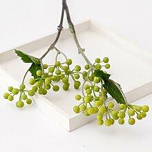 JIALE3536 Kunstblumen Eine Simulation Blume 2 Gabel Obst Inneneinrichtungsgegenstände Dekorative Pflanze Simulation,Gelb - Grün