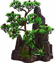 "JIAN-PLA Künstliche Bonsai Baum Pflanze für Büro Zuhause Dekoration, Feng Shui Deko,Japanischer Pinien,Höhe ca.13.39""/34 cm (Grün), Green, 11"