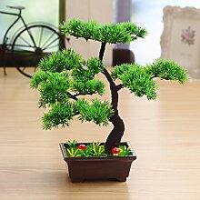 "JIAN-PLA Künstliche Bonsai Baum Pflanze für Büro Zuhause Dekoration, Feng Shui Deko,Japanischer Pinien,Höhe ca.13.39""/34 cm (Grün), Green, 12"