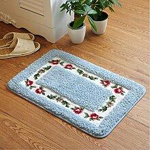 JIAN YA NA rutschfest Mikrofaser weich rose floral Bad Teppiche Fußmatte Boden Eingänge Innen vorne Fußmatte Kinder Badteppich, blau, Square(45×75cm)