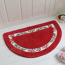 JIAN YA NA rutschfest Mikrofaser weich rose floral Bad Teppiche Fußmatte Boden Eingänge Innen vorne Fußmatte Kinder Badteppich, rot, Semicircular(50×80cm)