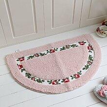 JIAN YA NA rutschfest Mikrofaser weich rose floral Bad Teppiche Fußmatte Boden Eingänge Innen vorne Fußmatte Kinder Badteppich, rose, Semicircular(50×80cm)