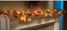 JIANGFU LED Kürbis Ahorn Blatt Dekoration Rattan,1.8M LED beleuchtete Herbst Herbst Kürbis Ahorn Blätter Girlande Thanksgiving Dekor