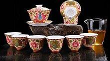 JIANGNANCHUN Keramik Tee-Set Gold filigrane