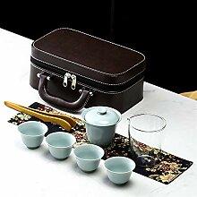 JIANGNANCHUN Reise-Tee-Set aus Steingut, tragbar,