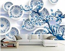 Jiangwei Tapete 3d blaues und weißes Foto eines