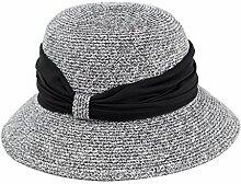 JIANXIN Strohhut Weiblicher Sommer Zusammenklappbarer Strand Großer Rand Sonnenschutz Winddicht Strandhut Visier Sunhat Basin Hat (Farbe : Silber)