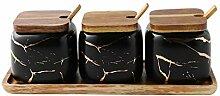 JIAODIE Keramik Gewürzbehälter, Zucker Dosen