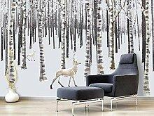 JIAOYK Fototapete 3D Baum & Hirsch Wandgemälde