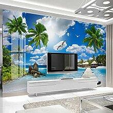 JIAOYK Fototapete 3D Blau & Meer Wandgemälde