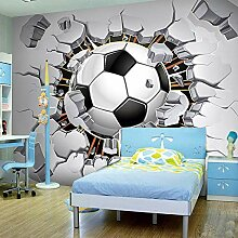 JIAOYK Fototapete 3D Loch & Fußball Wandgemälde