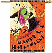 jiaxingdalin Fliegende Hexe Halloween House Flag